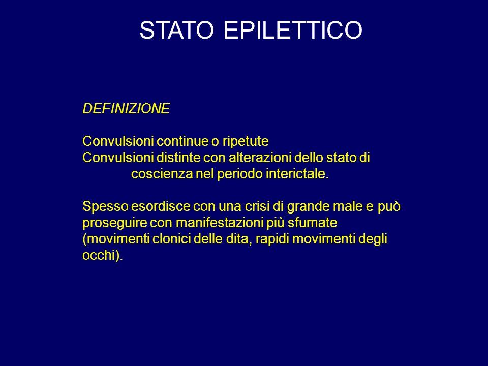 STATO EPILETTICO DEFINIZIONE Convulsioni continue o ripetute