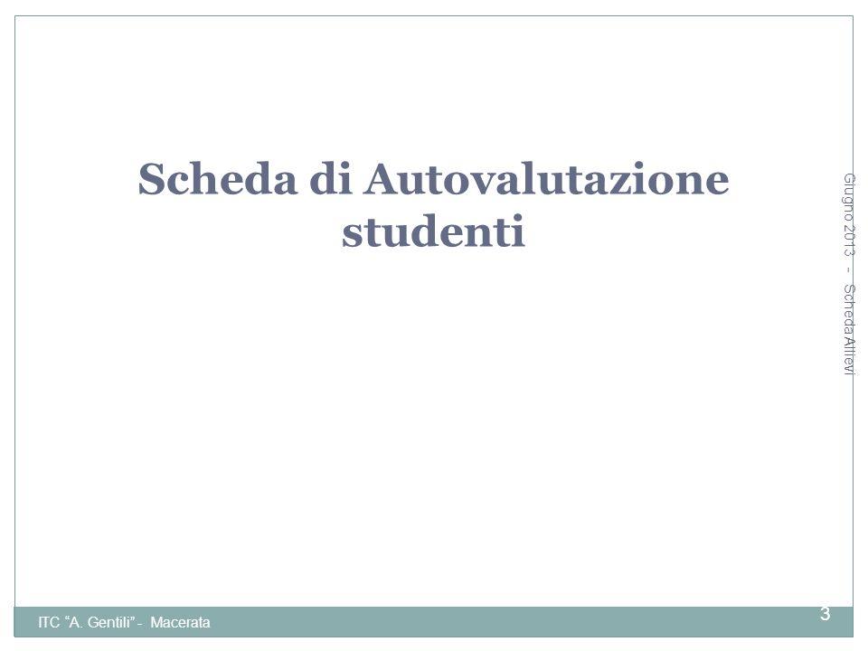 Scheda di Autovalutazione studenti