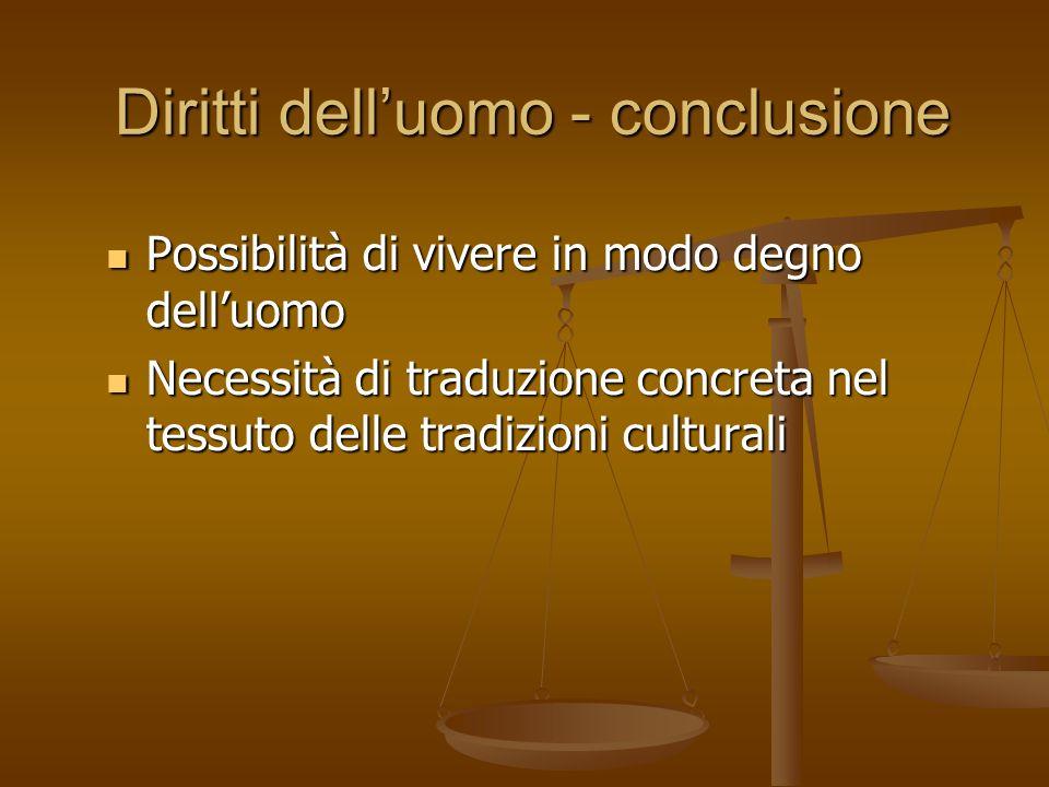 Diritti dell'uomo - conclusione