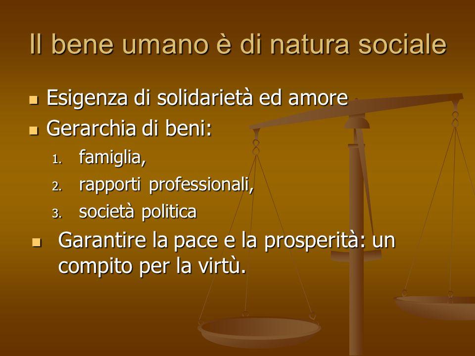 Il bene umano è di natura sociale