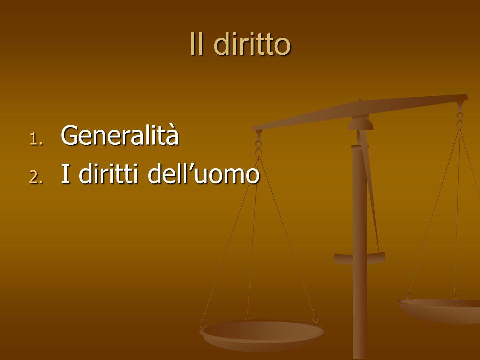 Il diritto Generalità I diritti dell'uomo