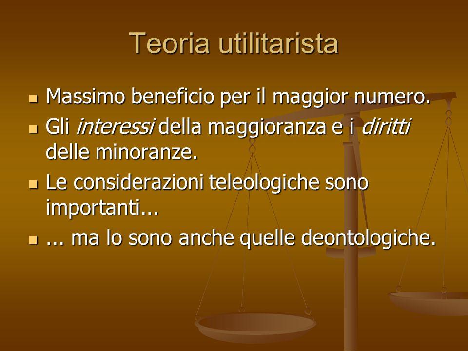 Teoria utilitarista Massimo beneficio per il maggior numero.