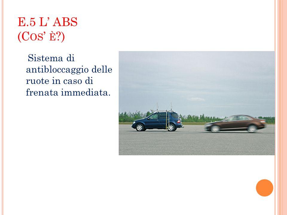 E.5 L' ABS (Cos' è ) Sistema di antibloccaggio delle ruote in caso di frenata immediata.