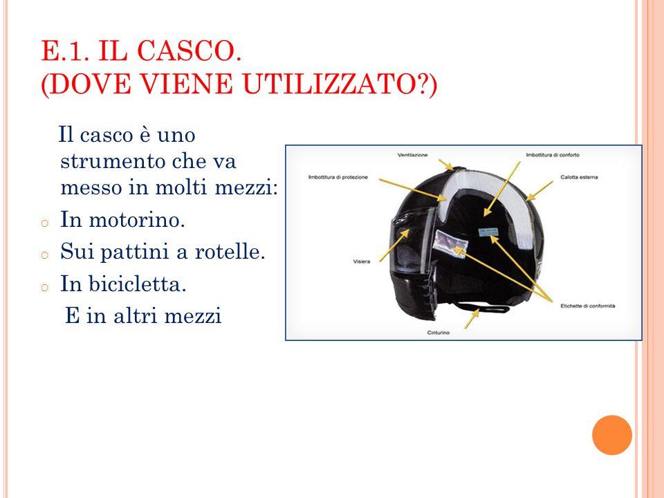 E.1. IL CASCO. (DOVE VIENE UTILIZZATO )
