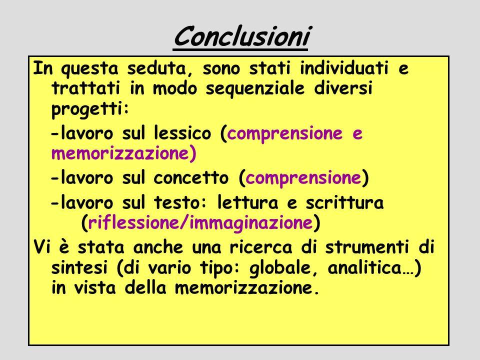 Conclusioni In questa seduta, sono stati individuati e trattati in modo sequenziale diversi progetti: