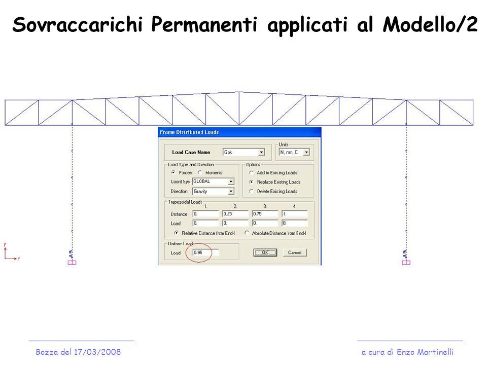 Sovraccarichi Permanenti applicati al Modello/2