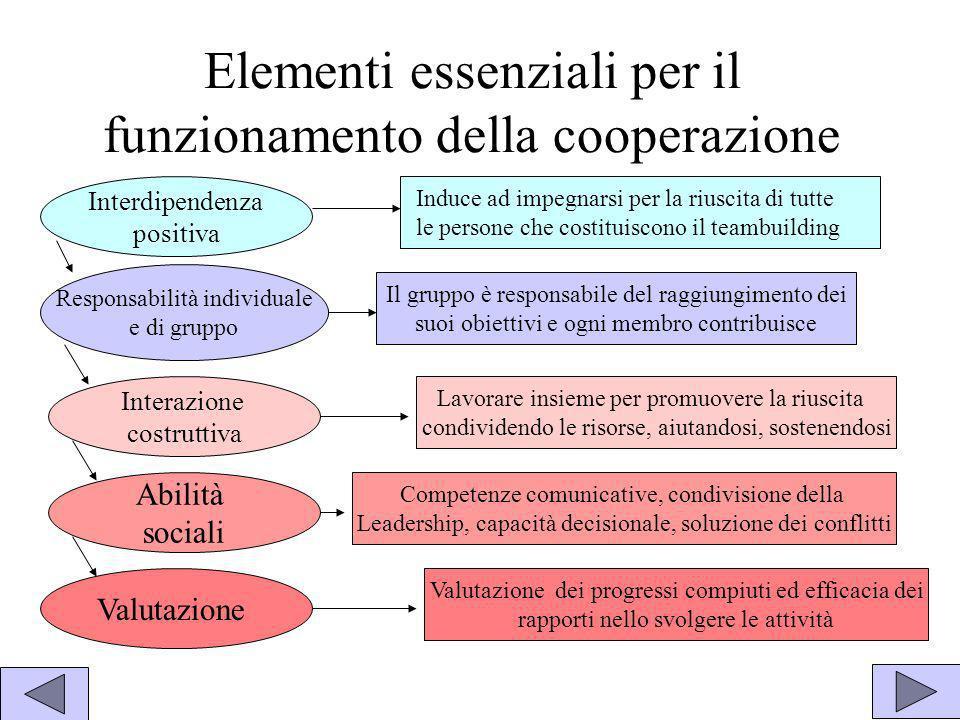Elementi essenziali per il funzionamento della cooperazione