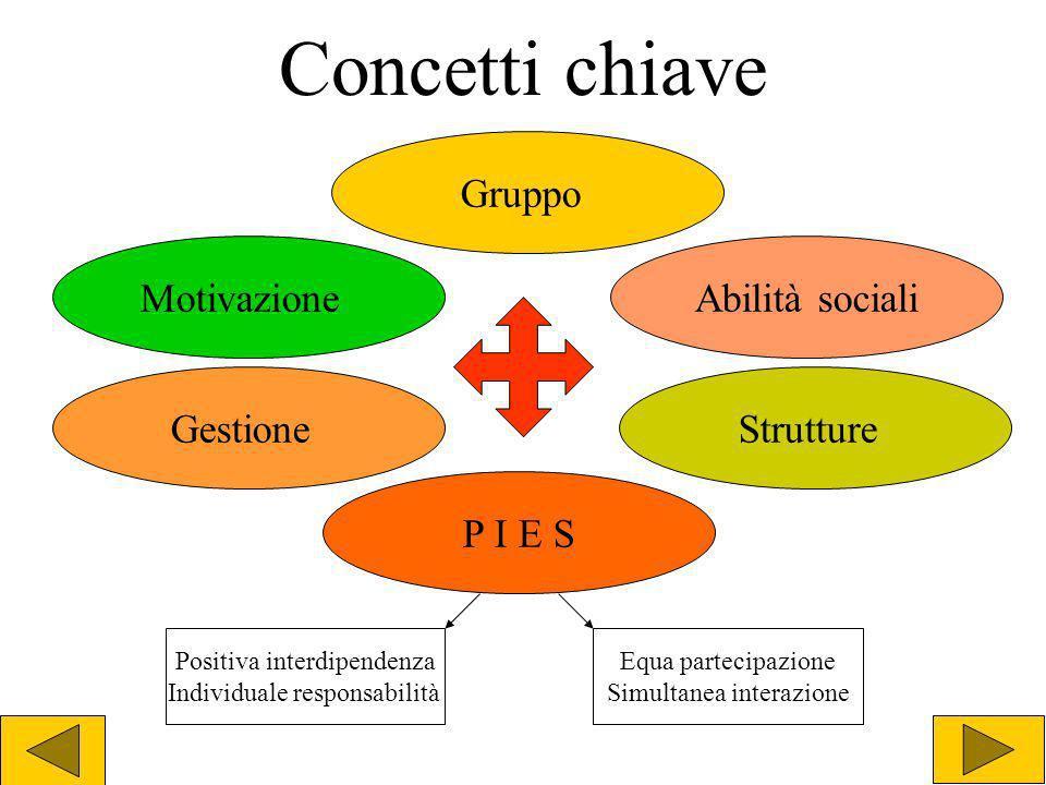 Concetti chiave Gruppo Motivazione Abilità sociali Gestione Strutture