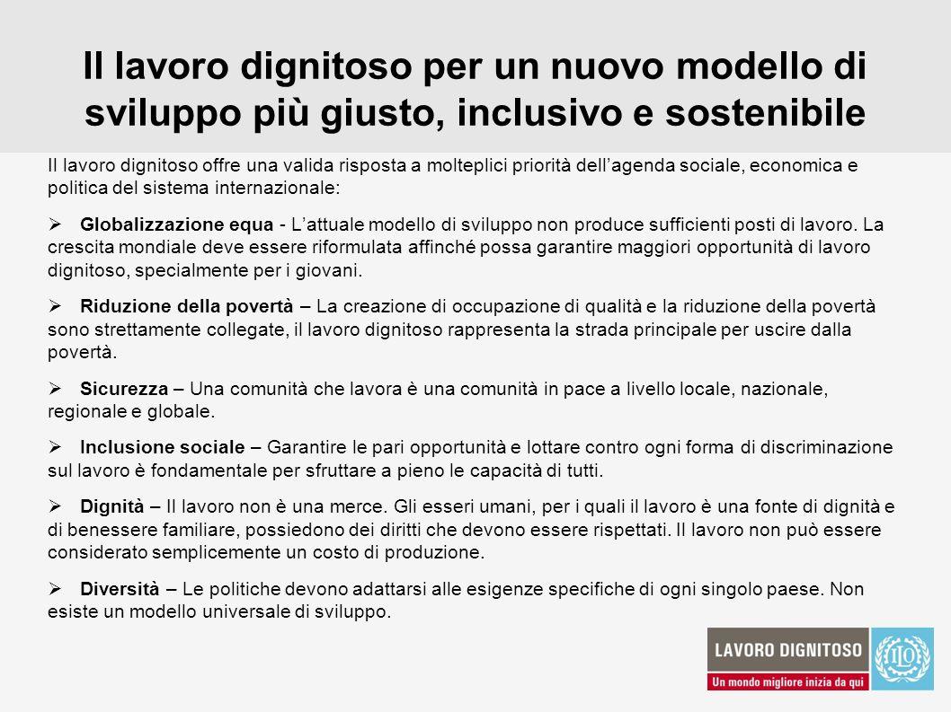 Il lavoro dignitoso per un nuovo modello di sviluppo più giusto, inclusivo e sostenibile