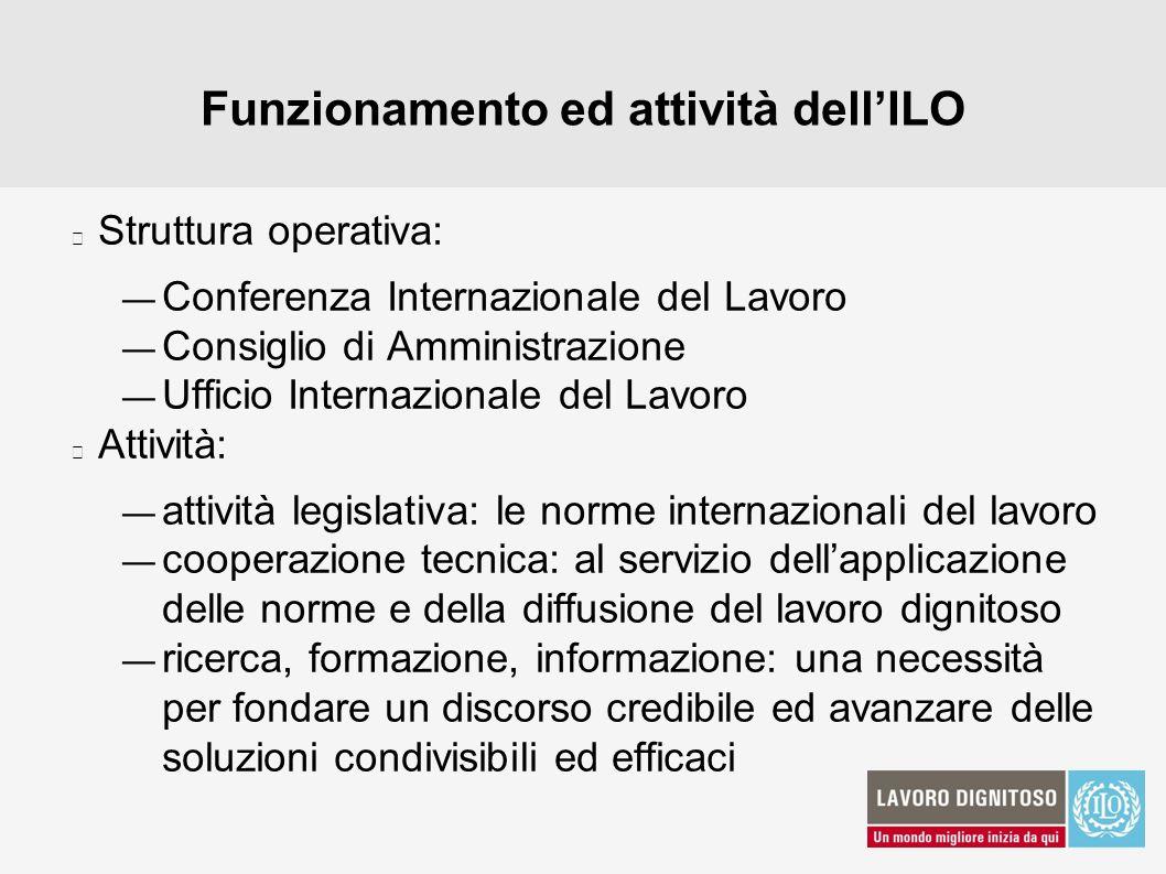 Funzionamento ed attività dell'ILO