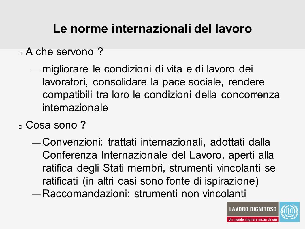 Le norme internazionali del lavoro