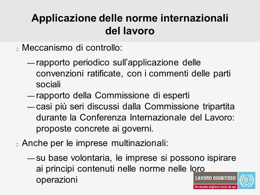 Applicazione delle norme internazionali del lavoro