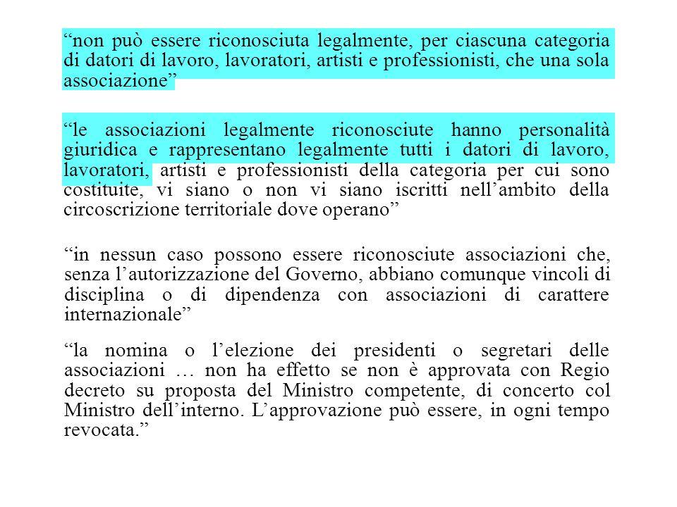 non può essere riconosciuta legalmente, per ciascuna categoria di datori di lavoro, lavoratori, artisti e professionisti, che una sola associazione