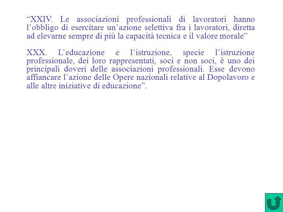 XXIV. Le associazioni professionali di lavoratori hanno l'obbligo di esercitare un'azione selettiva fra i lavoratori, diretta ad elevarne sempre di più la capacità tecnica e il valore morale
