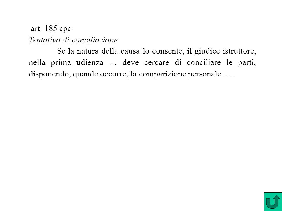 art. 185 cpc Tentativo di conciliazione.