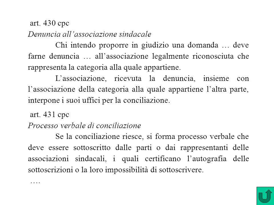 art. 430 cpc Denuncia all'associazione sindacale.