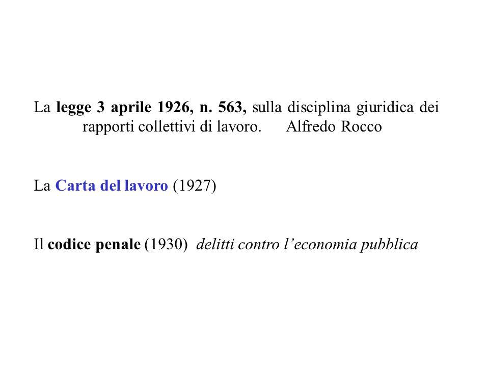La legge 3 aprile 1926, n. 563, sulla disciplina giuridica dei