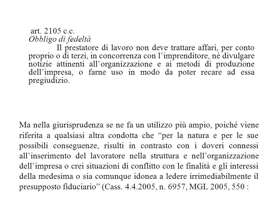 art. 2105 c.c. Obbligo di fedeltà.