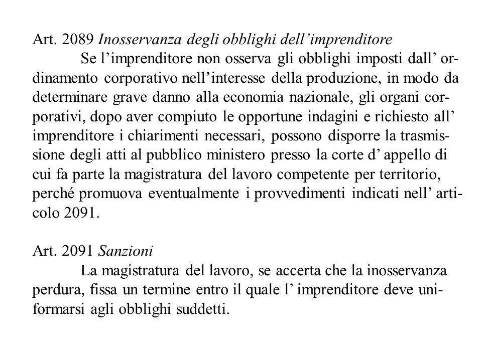Art. 2089 Inosservanza degli obblighi dell'imprenditore