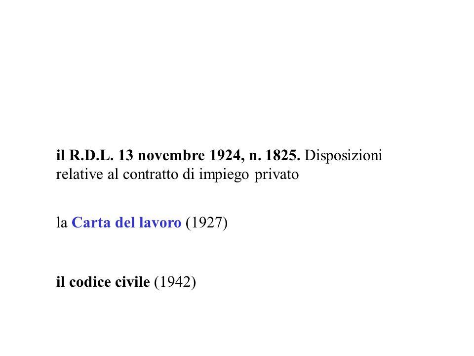 il R.D.L. 13 novembre 1924, n. 1825. Disposizioni relative al contratto di impiego privato