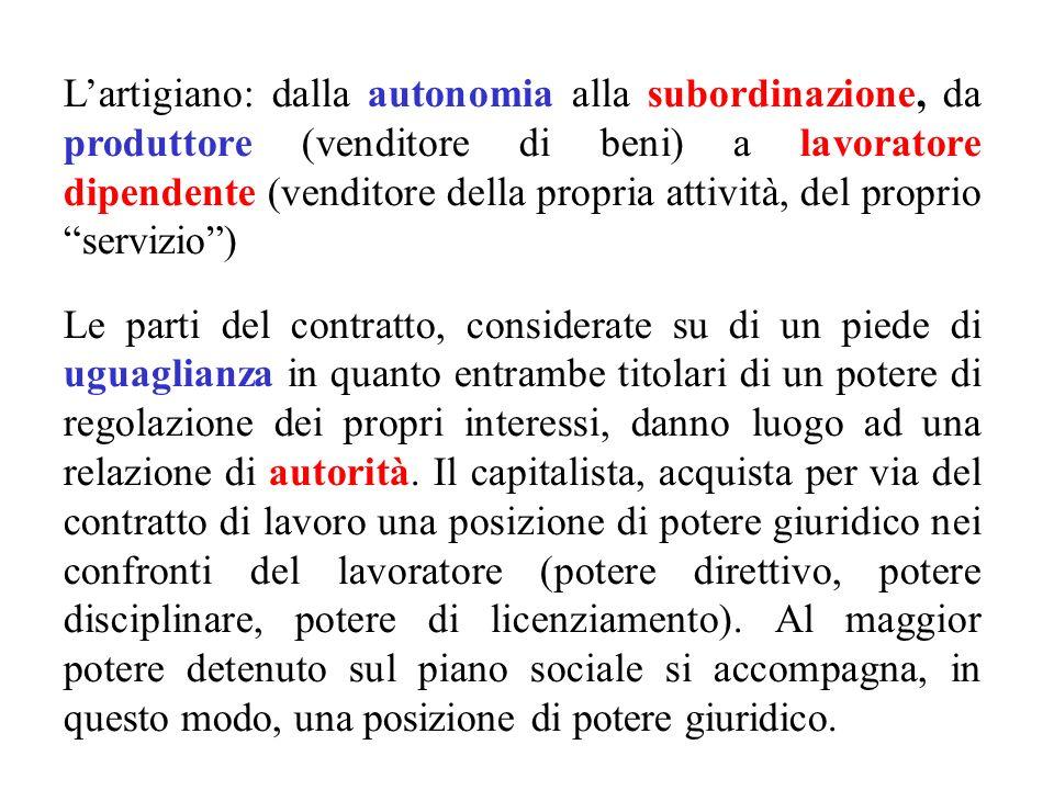 L'artigiano: dalla autonomia alla subordinazione, da produttore (venditore di beni) a lavoratore dipendente (venditore della propria attività, del proprio servizio )
