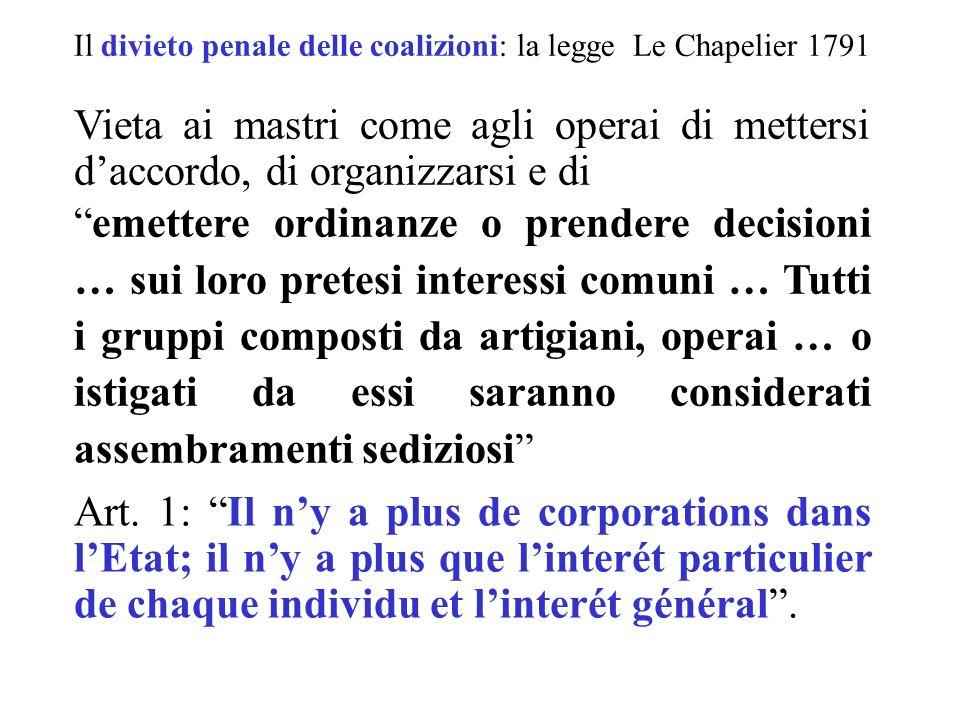 Il divieto penale delle coalizioni: la legge Le Chapelier 1791