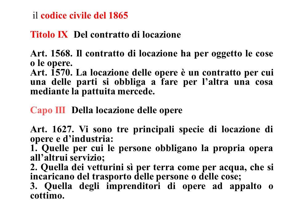 il codice civile del 1865 Titolo IX Del contratto di locazione. Art. 1568. Il contratto di locazione ha per oggetto le cose o le opere.