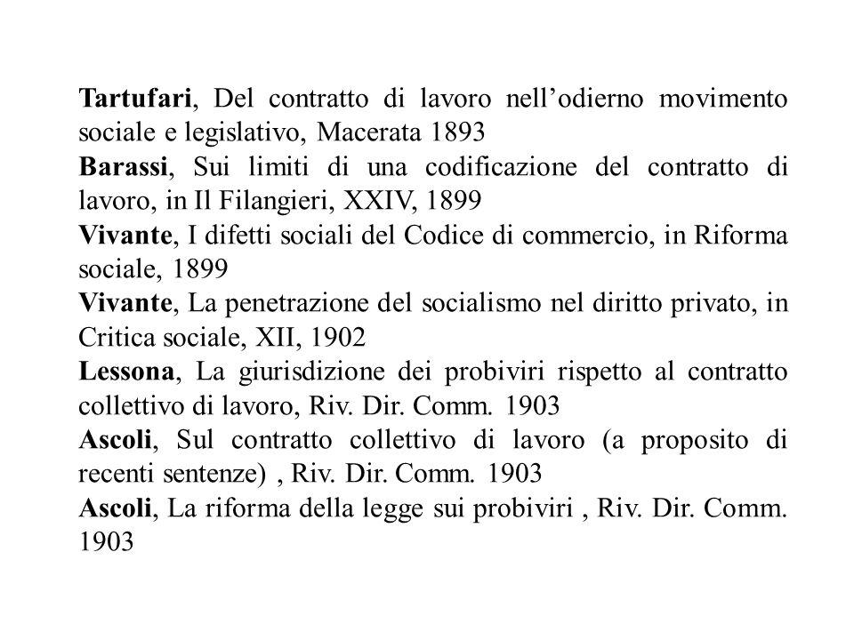 Tartufari, Del contratto di lavoro nell'odierno movimento sociale e legislativo, Macerata 1893