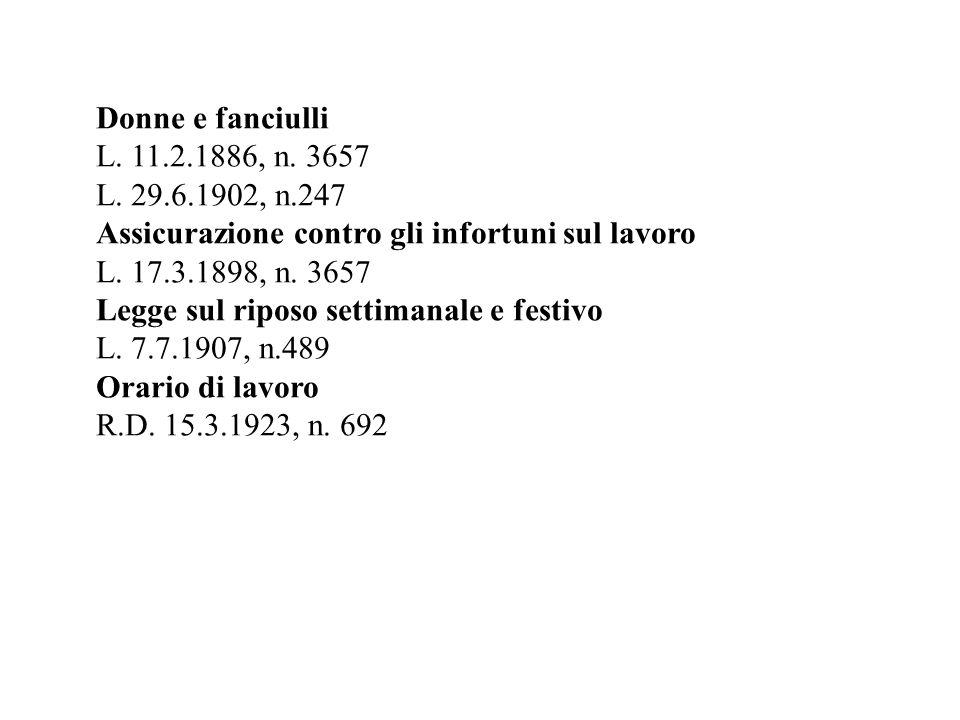 Donne e fanciulli L. 11.2.1886, n. 3657. L. 29.6.1902, n.247. Assicurazione contro gli infortuni sul lavoro.
