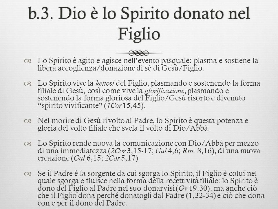 b.3. Dio è lo Spirito donato nel Figlio