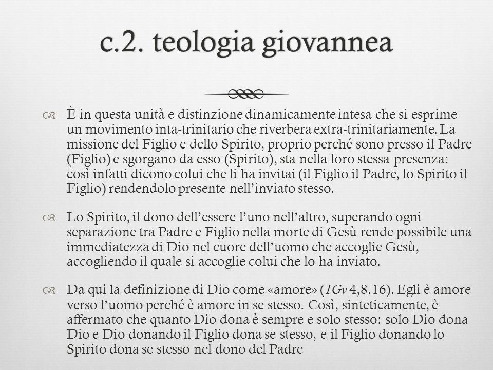 c.2. teologia giovannea