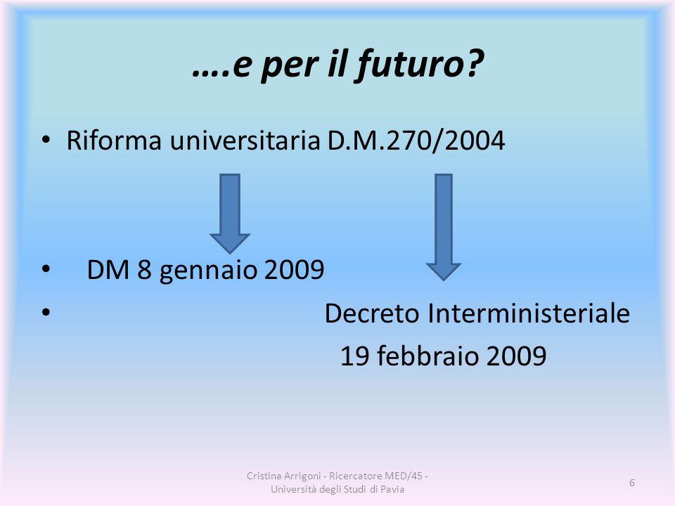 ….e per il futuro Riforma universitaria D.M.270/2004