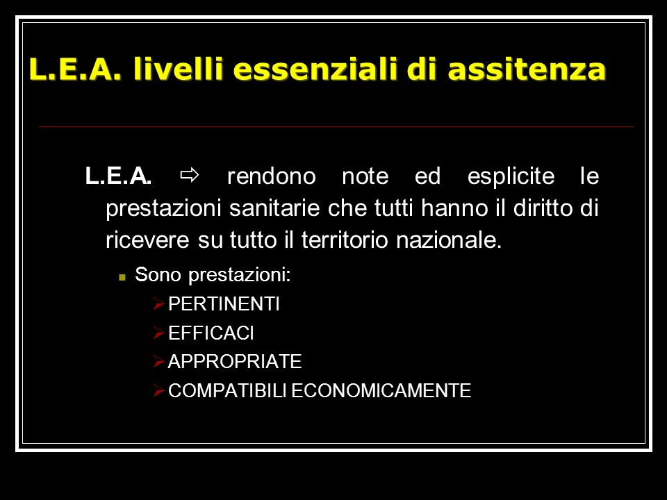 L.E.A. livelli essenziali di assitenza