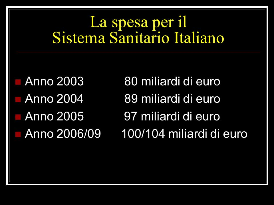 La spesa per il Sistema Sanitario Italiano