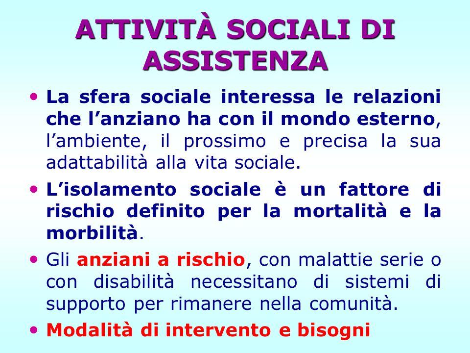 ATTIVITÀ SOCIALI DI ASSISTENZA