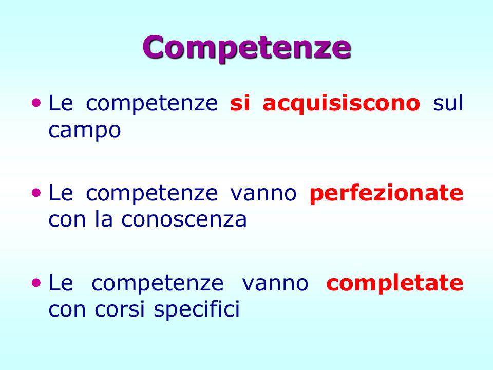 Competenze Le competenze si acquisiscono sul campo
