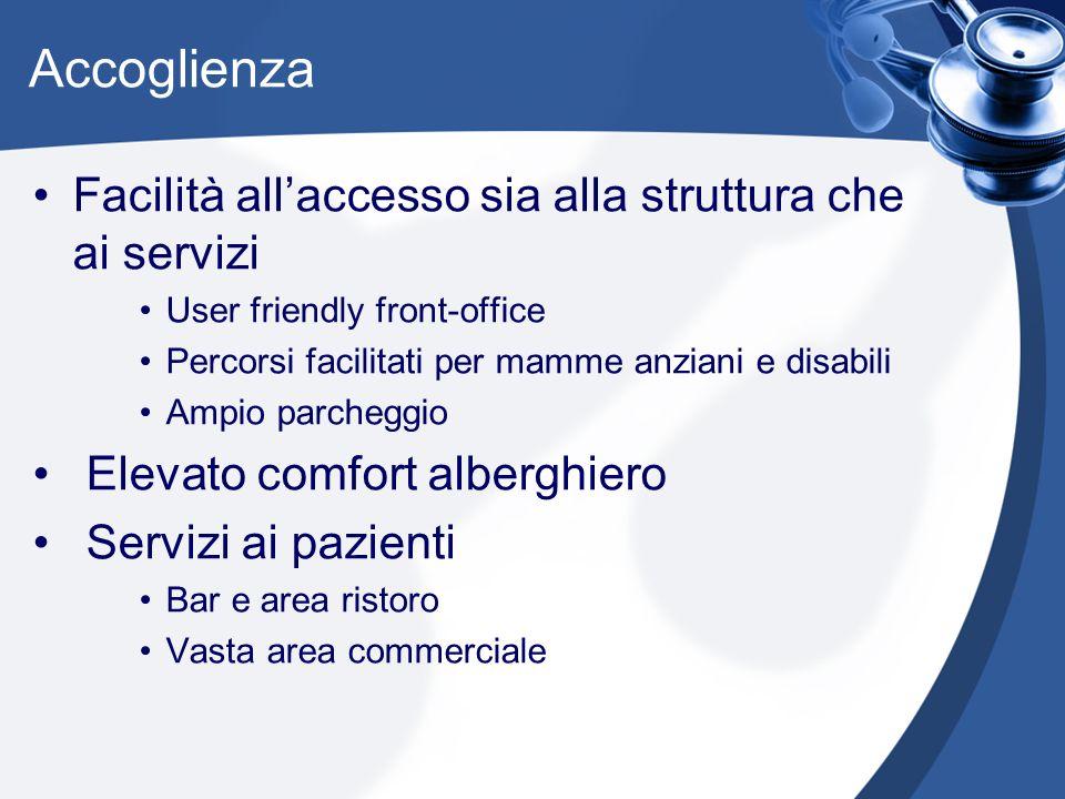 Accoglienza Facilità all'accesso sia alla struttura che ai servizi