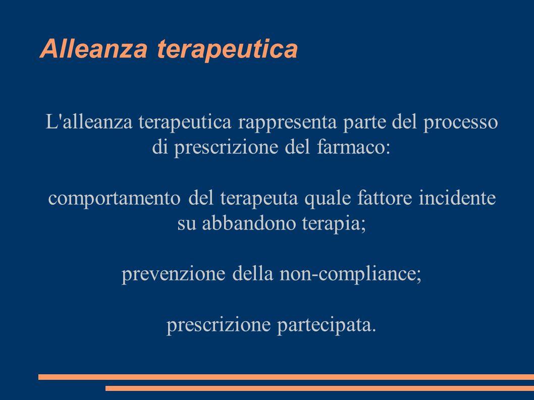 Alleanza terapeutica L alleanza terapeutica rappresenta parte del processo di prescrizione del farmaco: