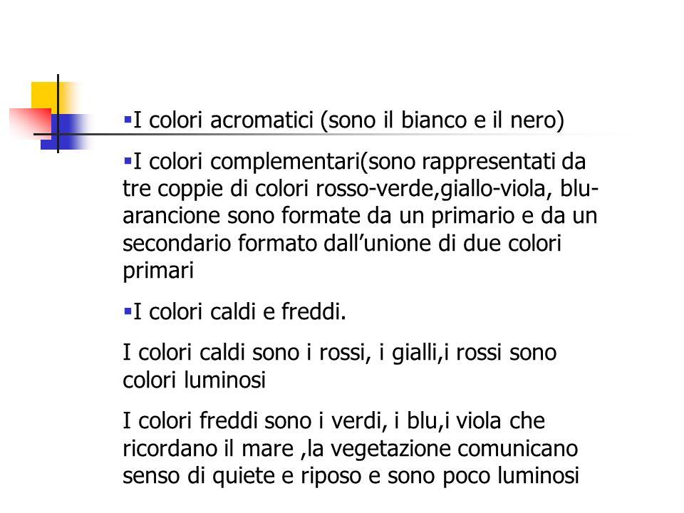 I colori acromatici (sono il bianco e il nero)
