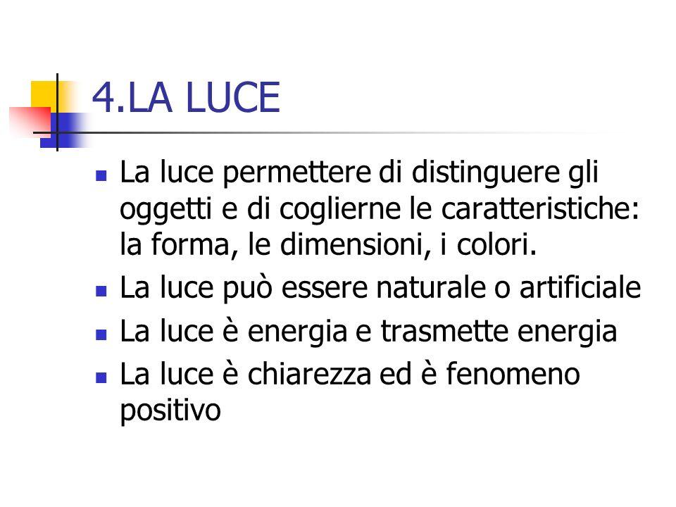 4.LA LUCE La luce permettere di distinguere gli oggetti e di coglierne le caratteristiche: la forma, le dimensioni, i colori.