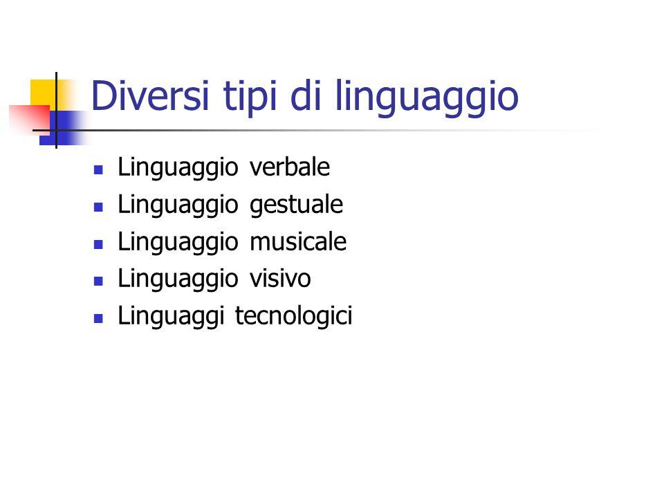 Diversi tipi di linguaggio