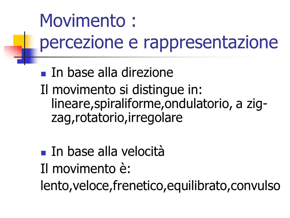 Movimento : percezione e rappresentazione
