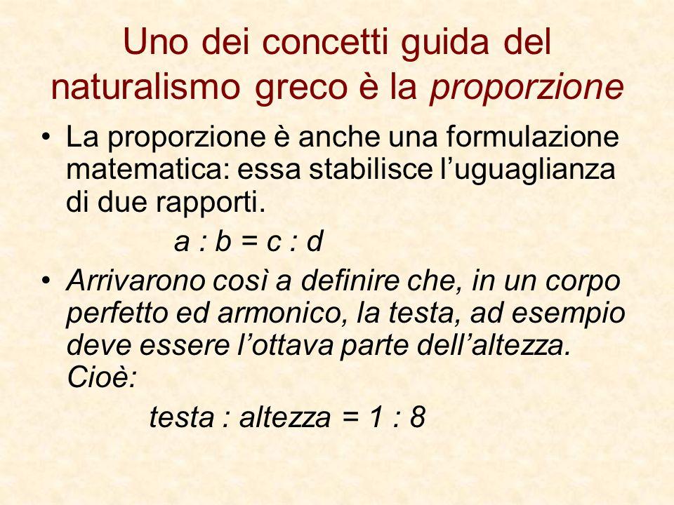 Uno dei concetti guida del naturalismo greco è la proporzione