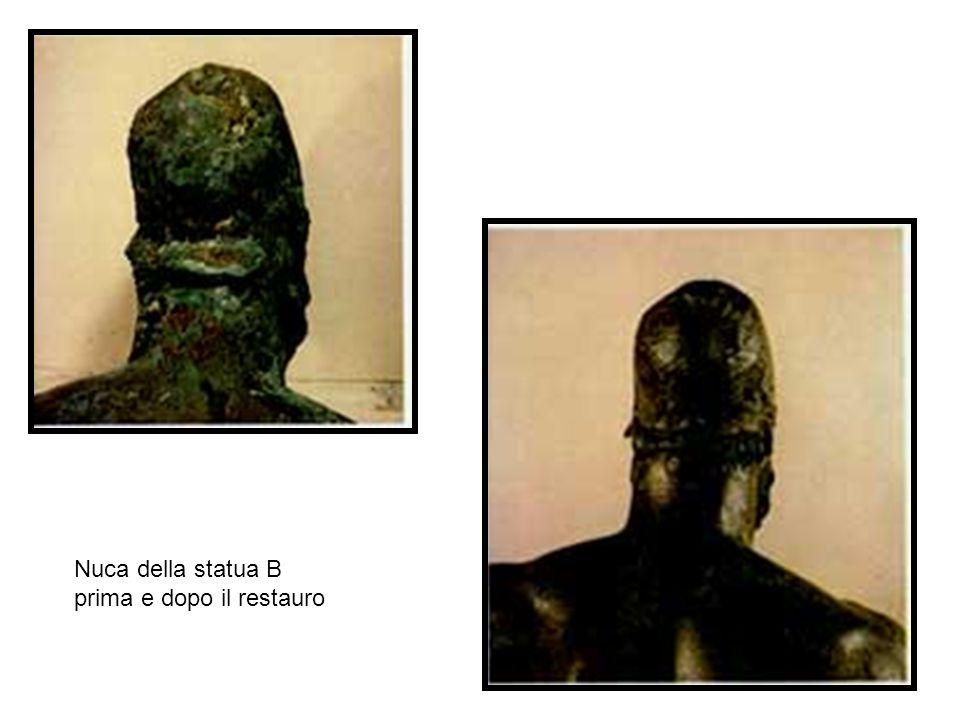 Nuca della statua B prima e dopo il restauro