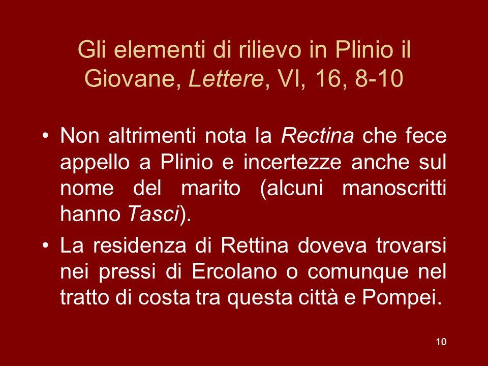 Gli elementi di rilievo in Plinio il Giovane, Lettere, VI, 16, 8-10