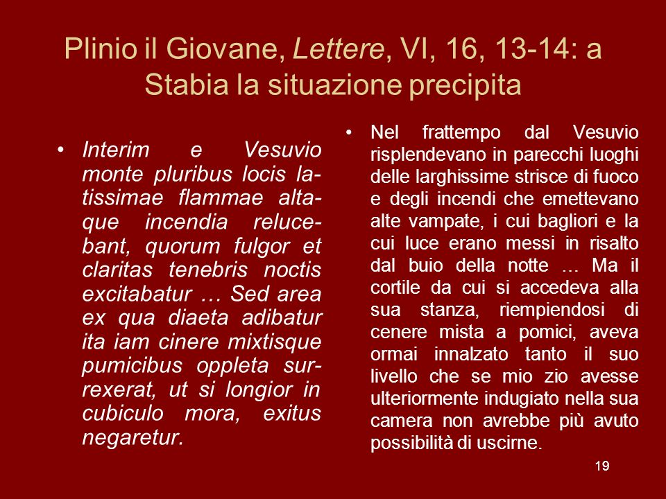 Plinio il Giovane, Lettere, VI, 16, 13-14: a Stabia la situazione precipita