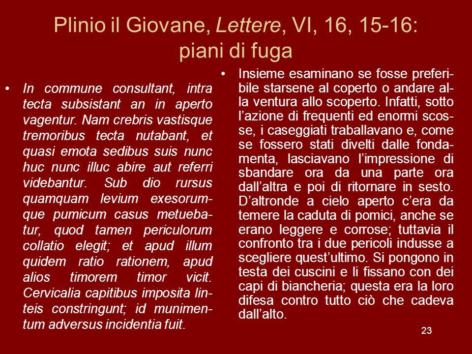 Plinio il Giovane, Lettere, VI, 16, 15-16: piani di fuga