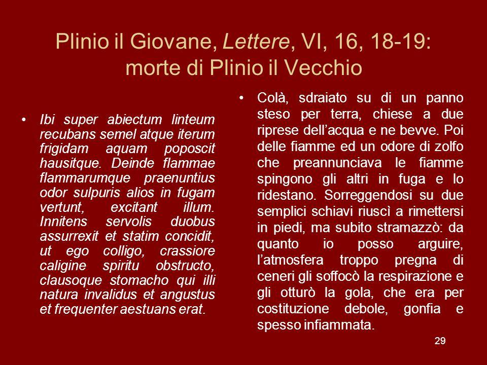 Plinio il Giovane, Lettere, VI, 16, 18-19: morte di Plinio il Vecchio