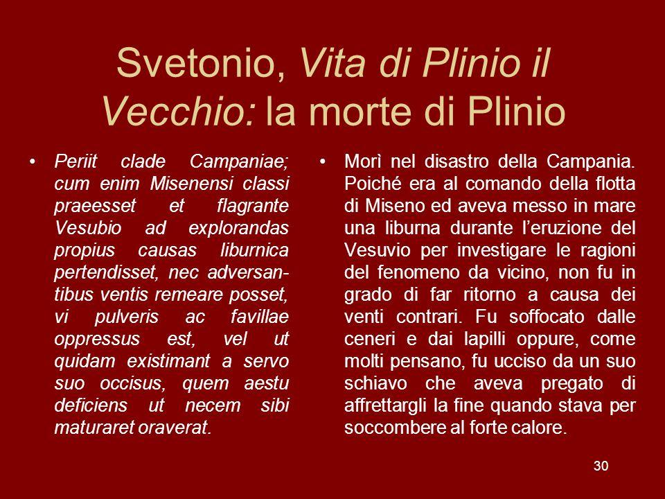 Svetonio, Vita di Plinio il Vecchio: la morte di Plinio