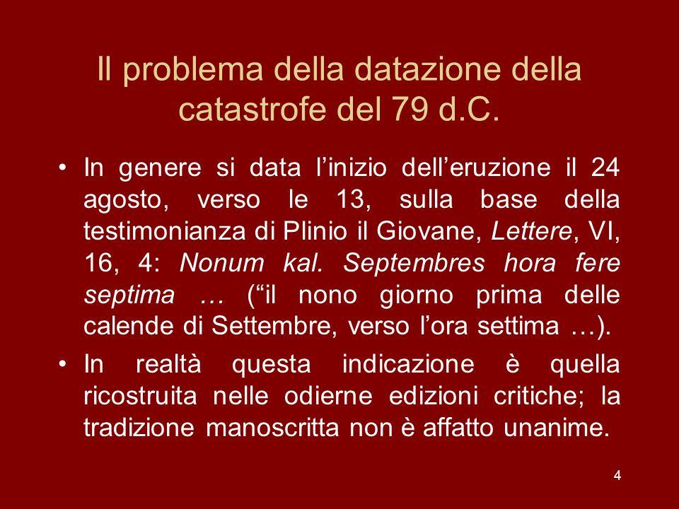 Il problema della datazione della catastrofe del 79 d.C.